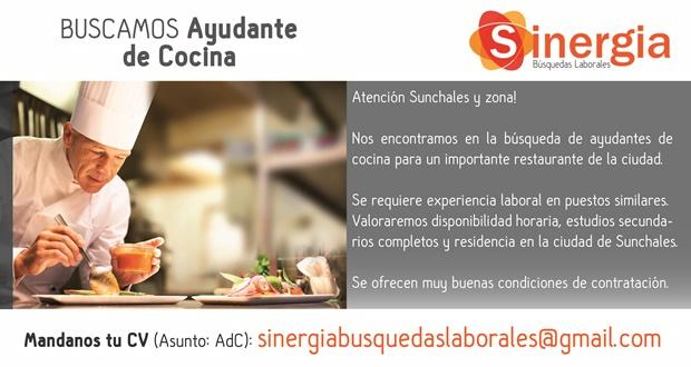 Se busca ayudante de cocina sunchaleshoy sunchales - Ayudante de cocina sueldo ...