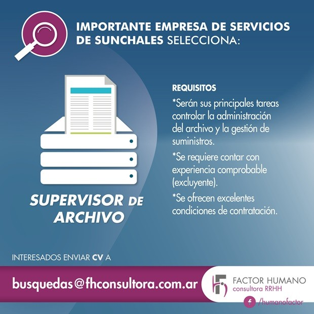 búsqueda SUPERVISOR DE ARCHIVOS